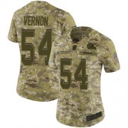 Wholesale Cheap Nike Browns #54 Olivier Vernon Camo Women's Stitched NFL Limited 2018 Salute to Service Jersey