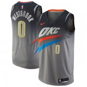 Wholesale Cheap Nike Oklahoma City Thunder #0 Russell Westbrook Gray NBA Swingman City Edition Jersey