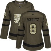 Wholesale Cheap Adidas Flyers #8 Dave Schultz Green Salute to Service Women's Stitched NHL Jersey