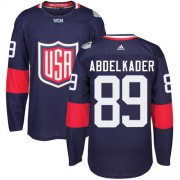 Wholesale Cheap Team USA #89 Justin Abdelkader Navy Blue 2016 World Cup Stitched Youth NHL Jersey