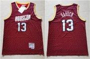 Wholesale Cheap Rockets 13 James Harden Red Checkerboard Hardwood Classics Jersey