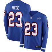 Wholesale Cheap Nike Bills #23 Micah Hyde Royal Blue Team Color Men's Stitched NFL Limited Therma Long Sleeve Jersey