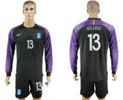 Wholesale Cheap Greece #13 Vellidis Black Goalkeeper Long Sleeves Soccer Country Jersey