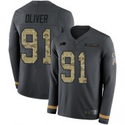 Wholesale Cheap Nike Bills #91 Ed Oliver Anthracite Salute to Service Men's Stitched NFL Limited Therma Long Sleeve Jersey