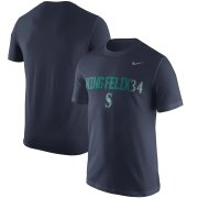 Wholesale Cheap Seattle Mariners #34 Felix Hernandez Nike Nickname Legend Player Name & Number Performance T-Shirt Navy