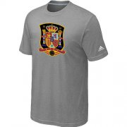 Wholesale Cheap Adidas Spain 2014 World Short Sleeves Soccer T-Shirt Light Grey