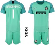 Wholesale Cheap Inter Milan #1 Handanovic Green Goalkeeper Kid Soccer Club Jersey