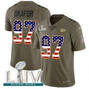 Wholesale Cheap Nike Chiefs #97 Alex Okafor Olive/USA Flag Super Bowl LIV 2020 Youth Stitched NFL Limited 2017 Salute To Service Jersey