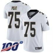 Wholesale Cheap Nike Saints #75 Andrus Peat White Youth Stitched NFL 100th Season Vapor Untouchable Limited Jersey