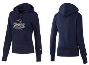 Wholesale Cheap Women's New England Patriots Authentic Logo Pullover Hoodie Blue