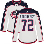 Wholesale Cheap Adidas Blue Jackets #72 Sergei Bobrovsky White Road Authentic Women's Stitched NHL Jersey