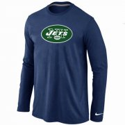 Wholesale Cheap Nike New York Jets Logo Long Sleeve T-Shirt Dark Blue