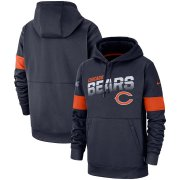 Wholesale Cheap Chicago Bears Nike Sideline Team Logo Performance Pullover Hoodie Navy