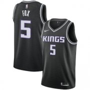 Wholesale Cheap Men's Sacramento Kings 5 De'Aaron Fox Nike Black Replica Swingman Statement Edition Jersey