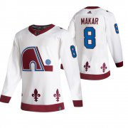 Wholesale Cheap Colorado Avalanche #8 Cale Makar White Men's Adidas 2020-21 Reverse Retro Alternate NHL Jersey