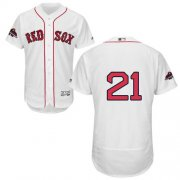 Wholesale Cheap Red Sox #21 Roger Clemens White Flexbase Authentic Collection 2018 World Series Champions Stitched MLB Jersey