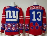 Wholesale Cheap Nike Giants #13 Odell Beckham Jr Royal Blue/Red Men's Ugly Sweater