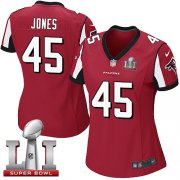 Wholesale Cheap Nike Falcons #45 Deion Jones Red Team Color Super Bowl LI 51 Women's Stitched NFL Elite Jersey