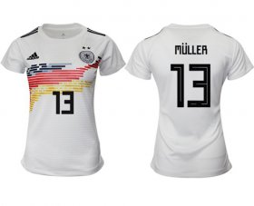 Wholesale Cheap Women\'s Germany #13 Muller White Home Soccer Country Jersey