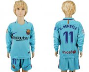 Wholesale Cheap Barcelona #11 O.Dembele Away Long Sleeves Kid Soccer Club Jersey