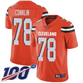 Wholesale Cheap Nike Browns #78 Jack Conklin Orange Alternate Youth Stitched NFL 100th Season Vapor Untouchable Limited Jersey