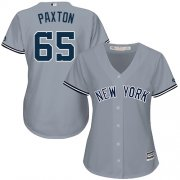 Wholesale Cheap Yankees #65 James Paxton Grey Road Women's Stitched MLB Jersey