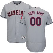 Wholesale Cheap Cleveland Indians Majestic Road Flex Base Authentic Collection Custom Jersey Gray