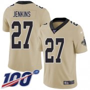 Wholesale Cheap Nike Saints #27 Malcolm Jenkins Gold Men's Stitched NFL Limited Inverted Legend 100th Season Jersey
