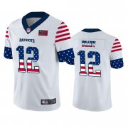 Wholesale Cheap New England Patriots #12 Tom Brady White Men's Nike Team Logo USA Flag Vapor Untouchable Limited NFL Jersey