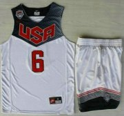 Wholesale Cheap 2014 USA Dream Team #6 Derrick Rose White Basketball Jersey Suits