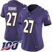 Wholesale Cheap Nike Ravens #27 J.K. Dobbins Purple Team Color Women's Stitched NFL 100th Season Vapor Untouchable Limited Jersey