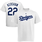 Wholesale Cheap Los Angeles Dodgers #22 Clayton Kershaw Majestic Official Name and Number T-Shirt White