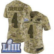 Wholesale Cheap Nike Rams #4 Greg Zuerlein Camo Super Bowl LIII Bound Women's Stitched NFL Limited 2018 Salute to Service Jersey