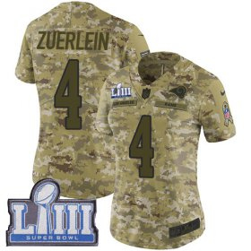 Wholesale Cheap Nike Rams #4 Greg Zuerlein Camo Super Bowl LIII Bound Women\'s Stitched NFL Limited 2018 Salute to Service Jersey