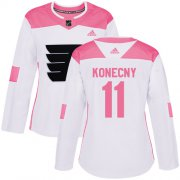 Wholesale Cheap Adidas Flyers #11 Travis Konecny White/Pink Authentic Fashion Women's Stitched NHL Jersey