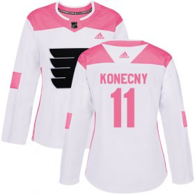 Wholesale Cheap Adidas Flyers #11 Travis Konecny White/Pink Authentic Fashion Women\'s Stitched NHL Jersey