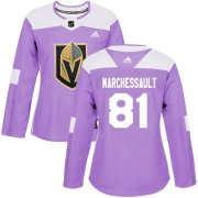 Wholesale Cheap Adidas Golden Knights #81 Jonathan Marchessault Purple Authentic Fights Cancer Women's Stitched NHL Jersey