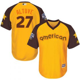 Wholesale Cheap Astros #27 Jose Altuve Gold 2016 All-Star American League Stitched Youth MLB Jersey