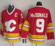 Wholesale Cheap Flames #9 Lanny McDonald Red CCM Throwback Stitched NHL Jersey