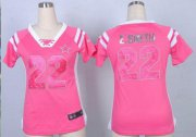 Wholesale Cheap Nike Cowboys #22 Emmitt Smith Pink Women's Stitched NFL Elite Draft Him Shimmer Jersey