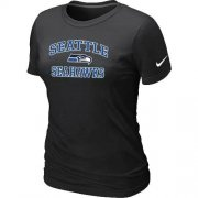 Wholesale Cheap Women's Nike Seattle Seahawks Heart & Soul NFL T-Shirt Black