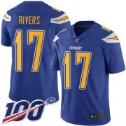 Wholesale Cheap Nike Chargers #17 Philip Rivers Electric Blue Men's Stitched NFL Limited Rush 100th Season Jersey