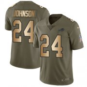 Wholesale Cheap Nike Bills #24 Taron Johnson Olive/Gold Men's Stitched NFL Limited 2017 Salute To Service Jersey