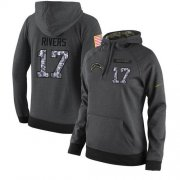 Wholesale Cheap NFL Women's Nike Los Angeles Chargers #17 Philip Rivers Stitched Black Anthracite Salute to Service Player Performance Hoodie
