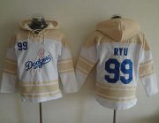 Wholesale Cheap Dodgers #99 Hyun-Jin Ryu White Sawyer Hooded Sweatshirt MLB Hoodie