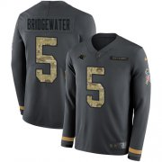 Wholesale Cheap Nike Panthers #5 Teddy Bridgewater Anthracite Salute to Service Men's Stitched NFL Limited Therma Long Sleeve Jersey