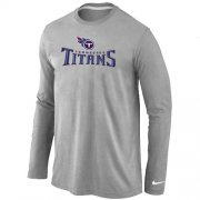 Wholesale Cheap Nike Tennessee Titans Authentic Logo Long Sleeve T-Shirt Grey