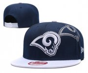 Wholesale Cheap NFL Los Angeles Rams Team Logo Navy Silver Adjustable Hat