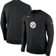 Wholesale Cheap Men's Pittsburgh Steelers Nike Black Sideline Team Logo Performance Sweatshirt