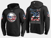 Wholesale Cheap Sabres #29 Jason Pominville NHL Banner Wave Usa Flag Black Hoodie